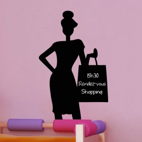 Sticker ardoise Dame faisant du shopping