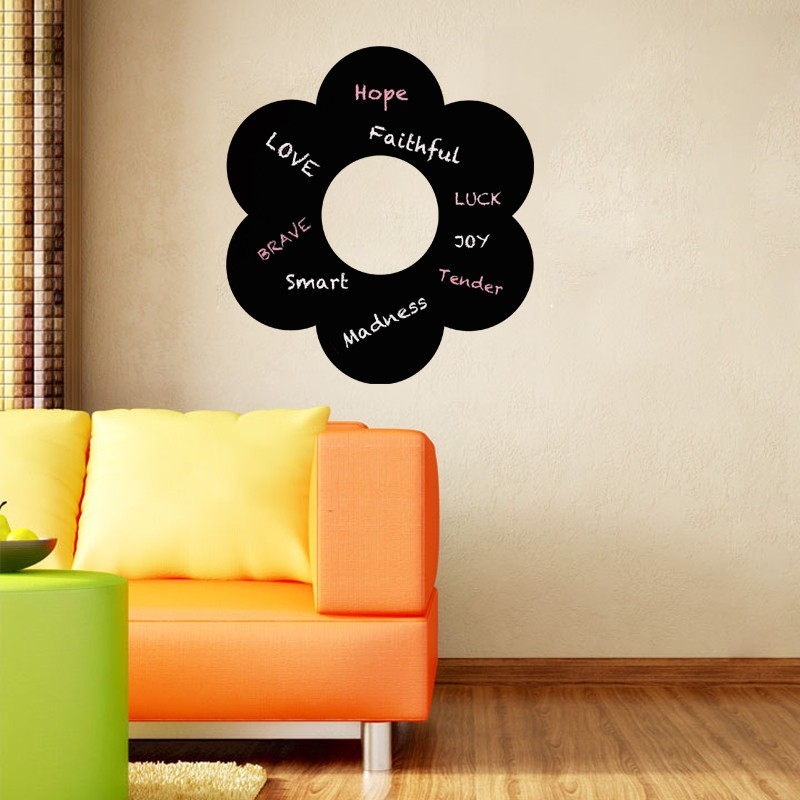 sticker ardoise dessin d 39 une fleur. Black Bedroom Furniture Sets. Home Design Ideas