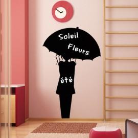 Sticker ardoise Femme avec une parapluie