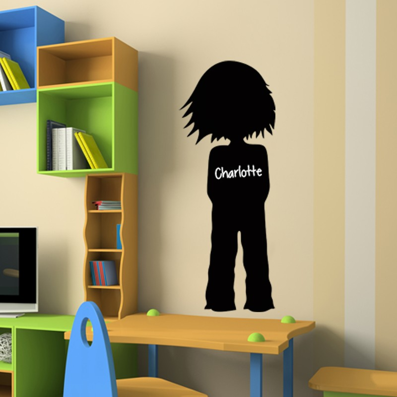 sticker ardoise silhouette petite fille. Black Bedroom Furniture Sets. Home Design Ideas