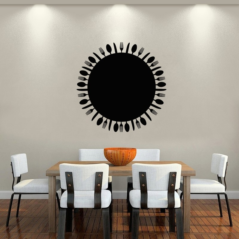 sticker ardoise couverts de table. Black Bedroom Furniture Sets. Home Design Ideas