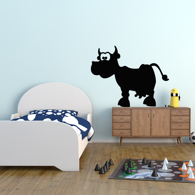sticker ardoise caricature d 39 une vache. Black Bedroom Furniture Sets. Home Design Ideas