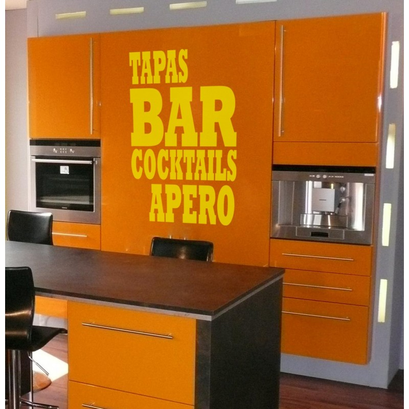 sticker tapas bar apero stickers citation texte. Black Bedroom Furniture Sets. Home Design Ideas
