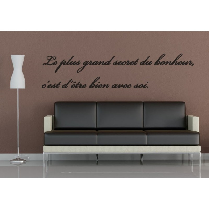 sticker citation secret du bonheur stickers citation texte opensticker. Black Bedroom Furniture Sets. Home Design Ideas