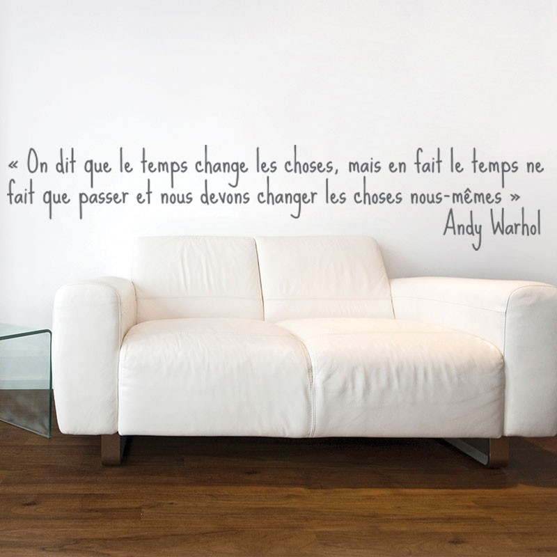Sticker andy warhol le temps stickers citation texte for Stickers phrase chambre adulte