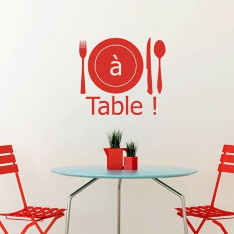 """Sticker Cuisine Couverts """"à table"""", Opensticker, boutique en ligne de stickers muraux inspirés et inspirant !"""