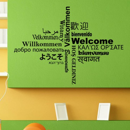 Sticker Welcome multilingue, Opensticker, boutique en ligne de stickers muraux inspirés et inspirant !