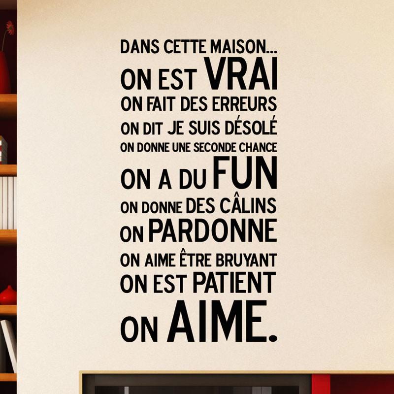 Couleur Chambre Garcon Adolescent : Sticker quot dans cette maison stickers citation