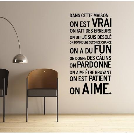 """Sticker """" Dans cette maison..."""" - Opensticker, boutique en ligne de stickers muraux inspirés et inspirant !"""