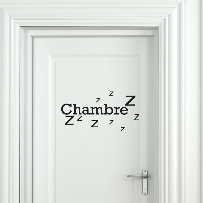 Sticker porte chambre zzz stickers citation texte for Stickers de porte