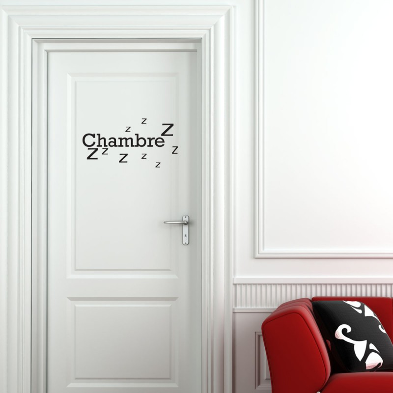 Sticker porte chambre zzz stickers citation texte for Decoration pour porte de chambre