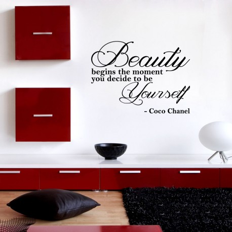 Sticker Beauty begins the moment… - Coco Chanel - Opensticker, boutique en ligne de stickers muraux inspirés et inspirant !
