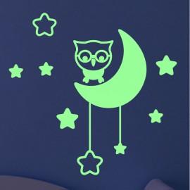 Sticker phosphorescent hibou la lune et étoiles