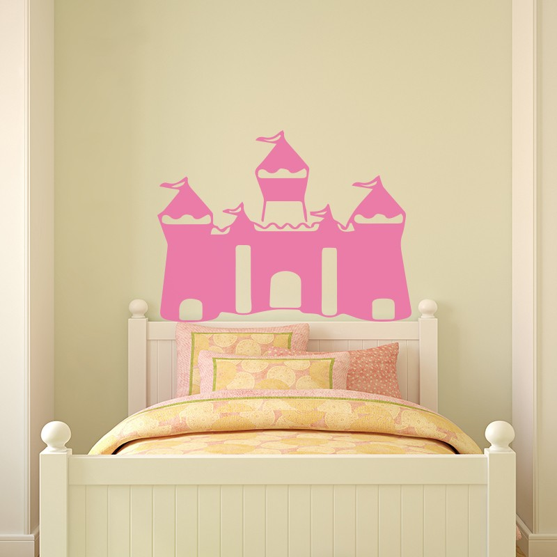 Sticker t te de lit ch teau de princesse for Lit princesse adulte