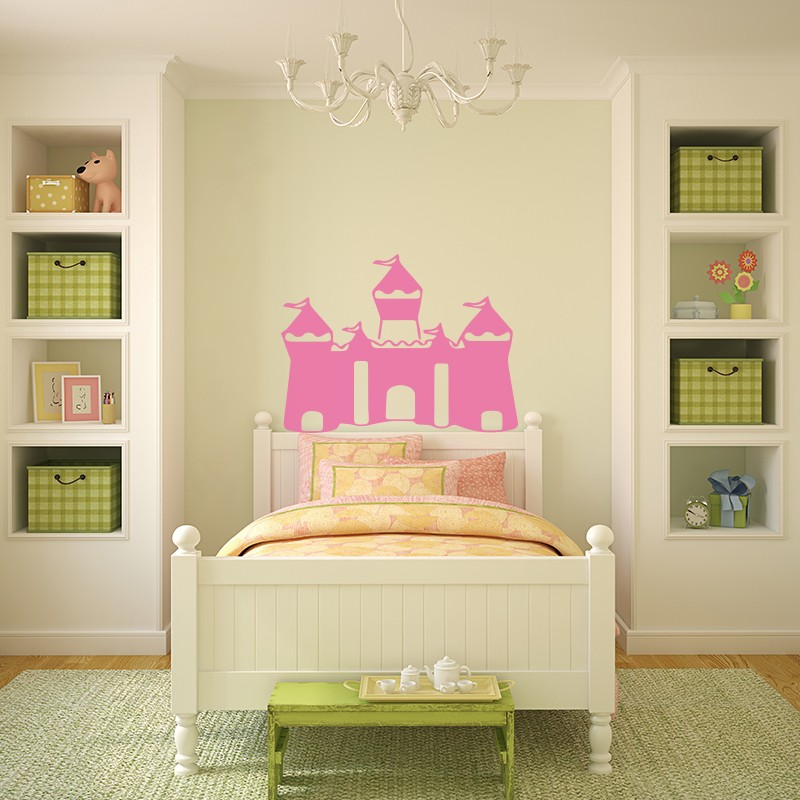 sticker tte de lit chteau de princesse opensticker. Black Bedroom Furniture Sets. Home Design Ideas
