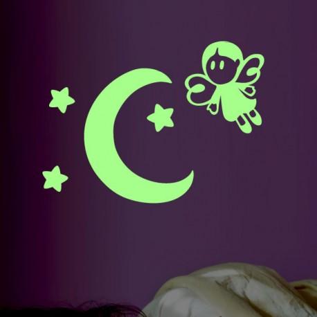 Sticker phosphorescent petite fée et lune - Opensticker, boutique en ligne de stickers muraux