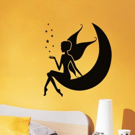 Sticker Fée assise sur la lune - Opensticker, boutique en ligne de stickers muraux idéales pour garder une âme d'enfant !