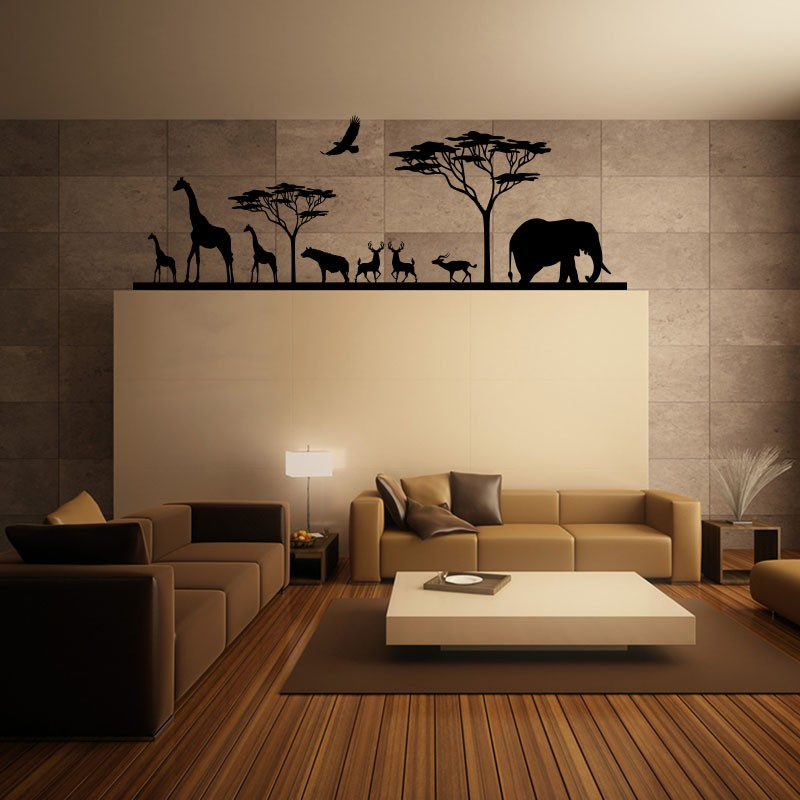 sticker savane africaine et ses animaux. Black Bedroom Furniture Sets. Home Design Ideas