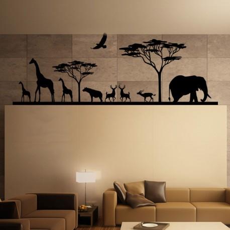 sticker savane africaine et ses animaux. Black Bedroom Furniture Sets. Home Design Ideas