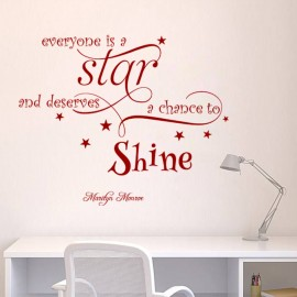 Sticker Citation Everyone is a star - Marilyn Monroe, Opensticker, boutique en ligne de stickers muraux inspirés et inspirant !