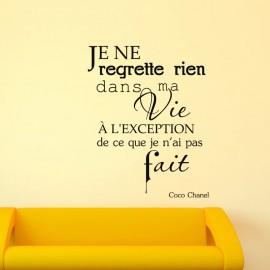 Sticker Citation Je ne regrette rien - Coco Chanel, Opensticker, boutique en ligne de stickers muraux