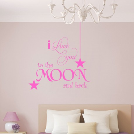 Sticker Citation I love you to the moon-Opensticker, boutique en ligne de stickers muraux inspirés et inspirant !