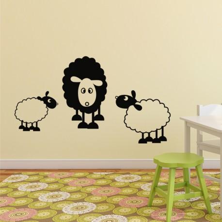 Sticker Trio de Mouton-Opensticker, boutique en ligne de stickers muraux idéales pour garder une âme d'enfant !