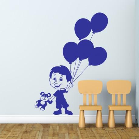 Sticker Petit garçon aux ballons-Opensticker, boutique en ligne de stickers muraux idéales pour garder une âme d'enfant !