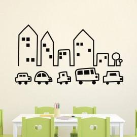 Sticker petites voitures et immeubles