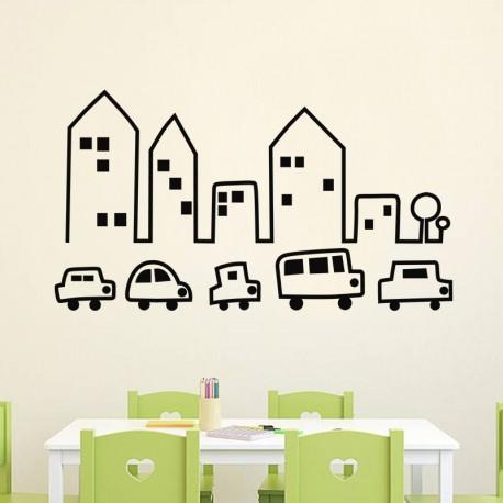 Sticker petites voitures et immeubles-Opensticker, boutique en ligne de stickers muraux idéales pour garder une âme d'enfant !