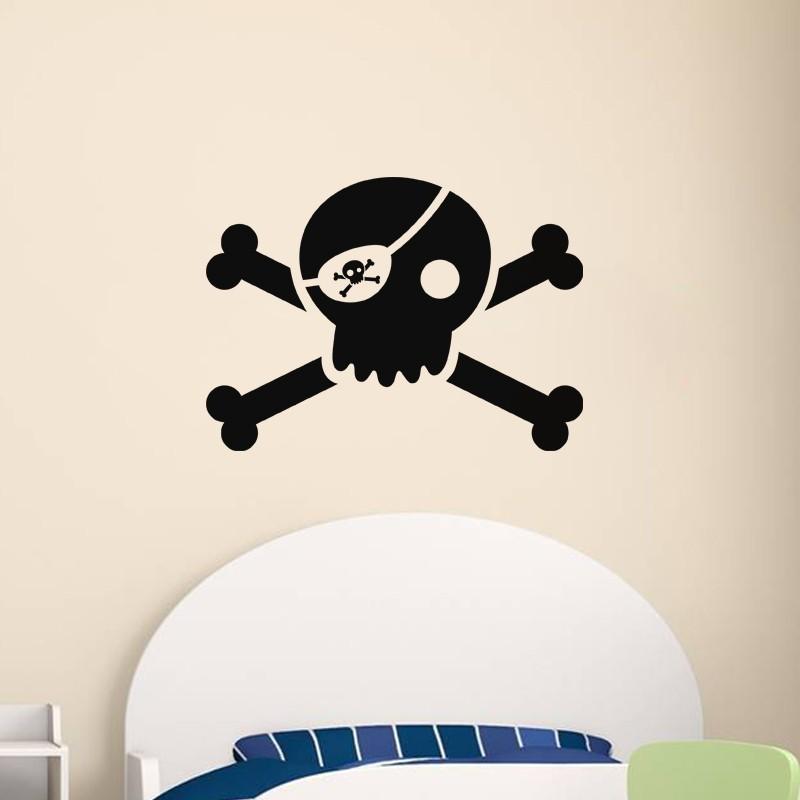 sticker t te de mort pirate. Black Bedroom Furniture Sets. Home Design Ideas
