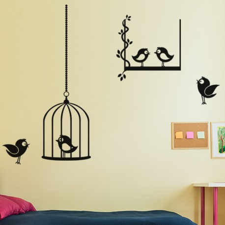 Sticker Cage à Oiseaux-Opensticker, boutique en ligne de stickers muraux idéales pour garder une âme d'enfant !