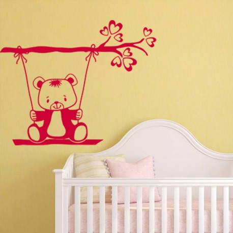 Sticker Ourson sur balançoire-Opensticker, boutique en ligne de stickers muraux idéales pour garder une âme d'enfant !