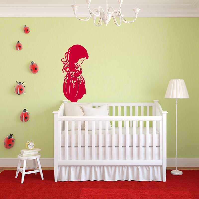 sticker petite fille aux n uds. Black Bedroom Furniture Sets. Home Design Ideas