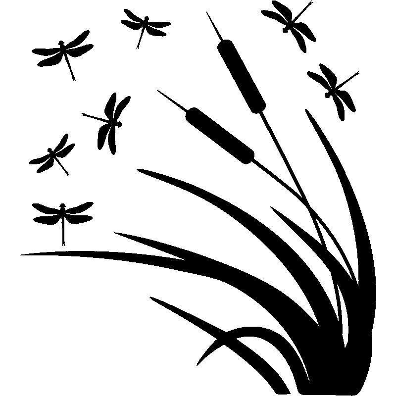 Sticker libellule et roseaux - Photo de libellule a imprimer ...