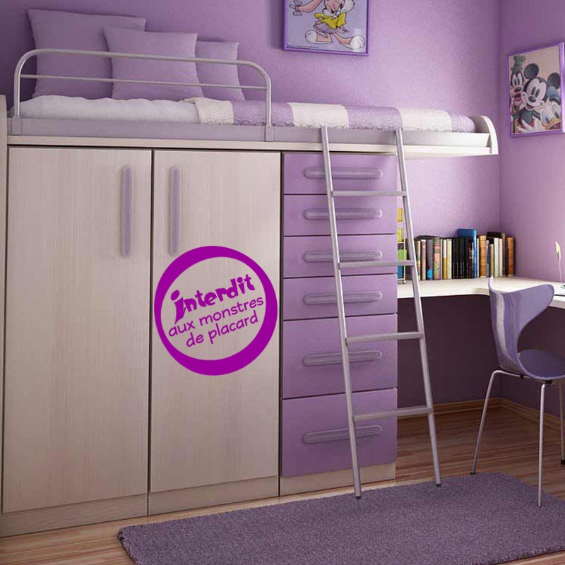 sticker interdit aux monstres de placard stickers citation texte opensticker. Black Bedroom Furniture Sets. Home Design Ideas