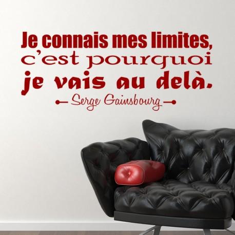 Sticker Mes limites selon Serges Gainsbourg
