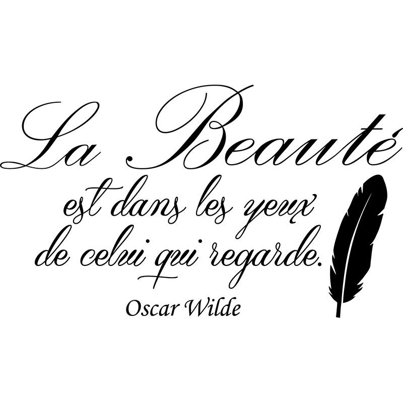 Dessin D Une Chambre D Une Fille : Sticker la beauté selon oscar wilde stickers citation