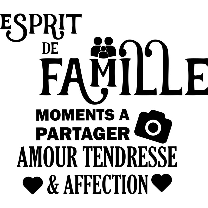 sticker esprit de famille stickers citation texte opensticker. Black Bedroom Furniture Sets. Home Design Ideas
