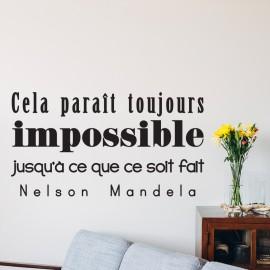 Sticker Citation cela parait toujours impossible... Mandela