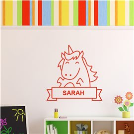 Sticker personnalisable cheval souriant
