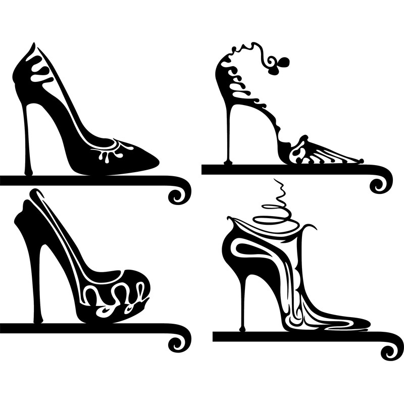 sticker design chaussures a talon With chambre bébé design avec chaussures fleuries talon