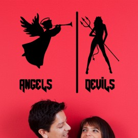 Sticker angels and devils