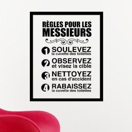 sticker rgles pour les messieurs - Stickers Salle De Bain Texte