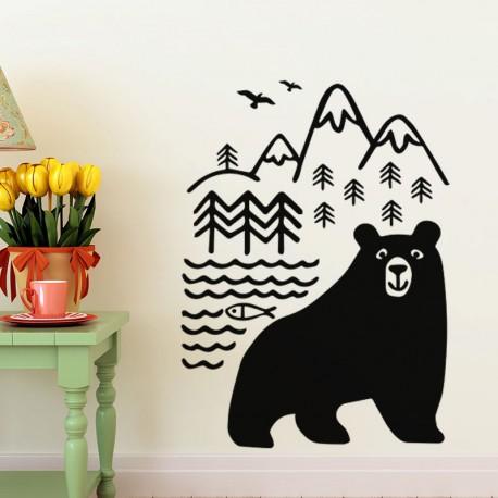 Sticker ours heureux dans la nature