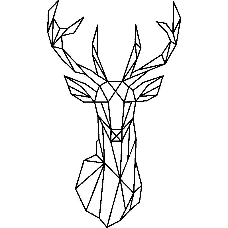Sticker Tete De Cerf Geometrique