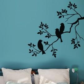 Sticker 3 oiseaux sur une branche