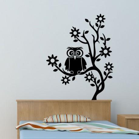 Sticker hibou sur un arbre
