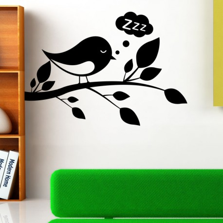 Sticker oiseau dormant sur une branche