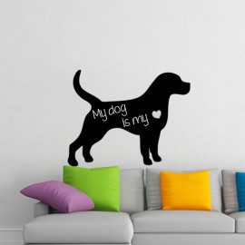Sticker Ardoise Silhouette chien